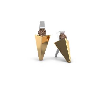 Oorbellen Corina 585 goud bruine diamant 0.20 crt