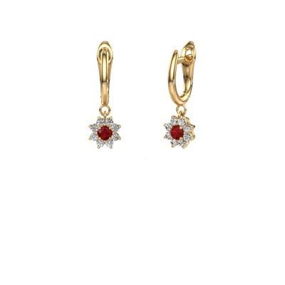 Drop earrings Camille 1 375 gold ruby 3 mm