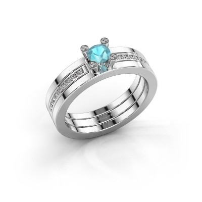 Foto van Ring Alisha 585 witgoud blauw topaas 4 mm