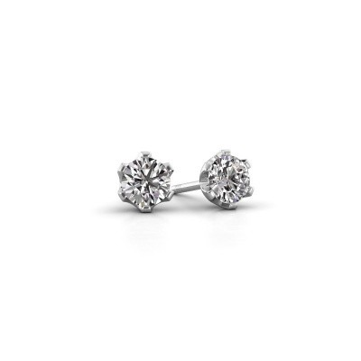 Photo de Clous d'oreilles Fran 585 or blanc diamant 0.40 crt