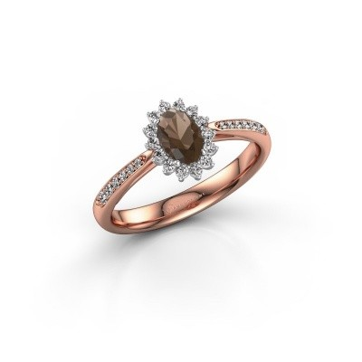 Engagement ring Tilly ovl 2 585 rose gold smokey quartz 6x4 mm