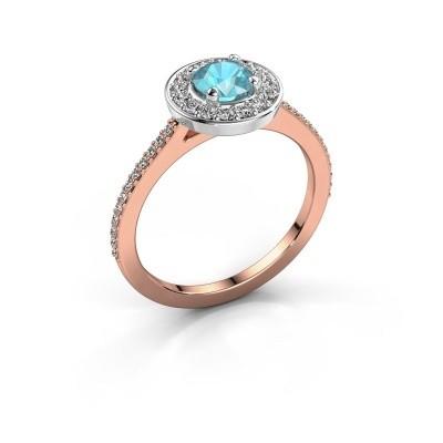 Foto van Ring Agaat 2 585 rosé goud blauw topaas 5 mm