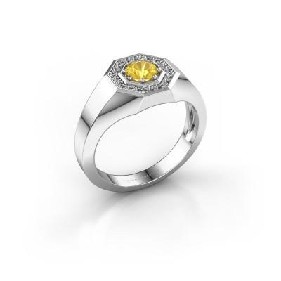 Foto van Heren ring Jaap 925 zilver gele saffier 5 mm