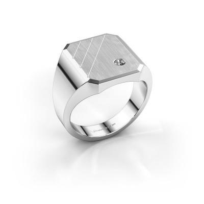 Foto van Zegelring Patrick 4 585 witgoud lab-grown diamant 0.03 crt