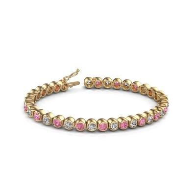 Foto van Tennisarmband Bianca 375 goud roze saffier 4 mm