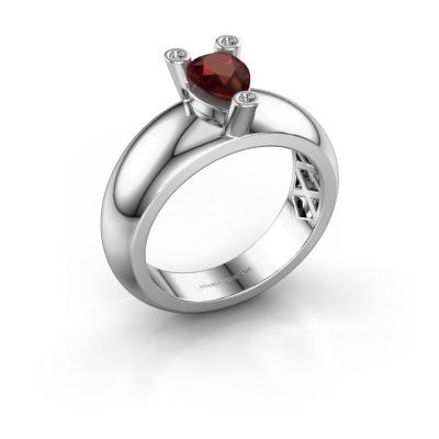 Ring Cornelia Pear 925 silver garnet 7x5 mm