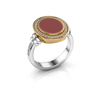 Zegelring Servie 2 585 witgoud rode emaille 12x10 mm