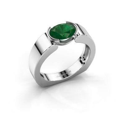 Ring Tonya 950 platina smaragd 8x6 mm
