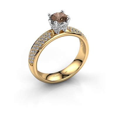 Aanzoeksring Ecrin 585 goud bruine diamant 0.989 crt