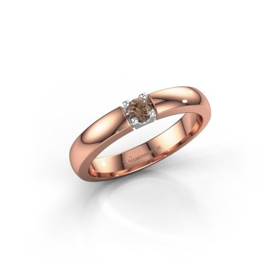 Engagement ring Rianne 1 585 rose gold brown diamond 0.10 crt