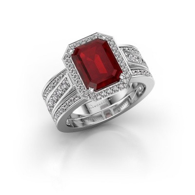 Picture of Ring Dodie 3 585 white gold ruby 9x7 mm