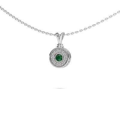 Foto van Hanger Roos 925 zilver smaragd 3 mm