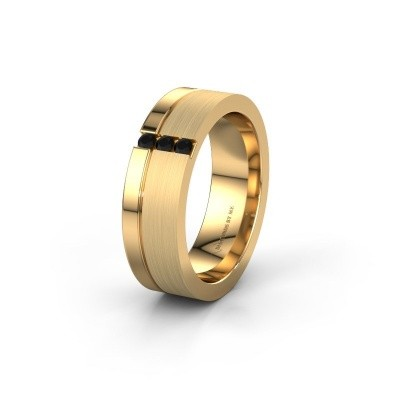 Wedding ring WH0327L16B 585 gold black diamond ±0.24x0.08 in