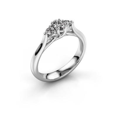 Bague de fiançailles Jente OVL 585 or blanc diamant 0.39 crt