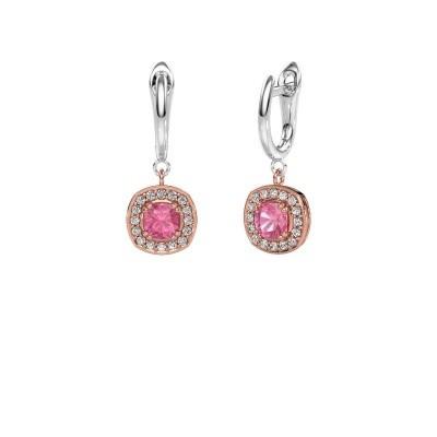 Drop earrings Marlotte 1 585 rose gold pink sapphire 5 mm