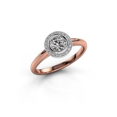 Promise ring Noud 1 RND 585 rosé goud diamant 0.45 crt