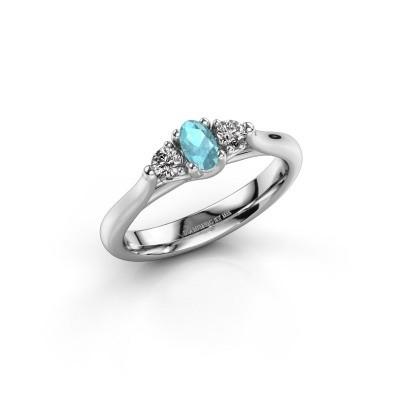 Foto van Verlovingsring Jente OVL 585 witgoud blauw topaas 5x3 mm