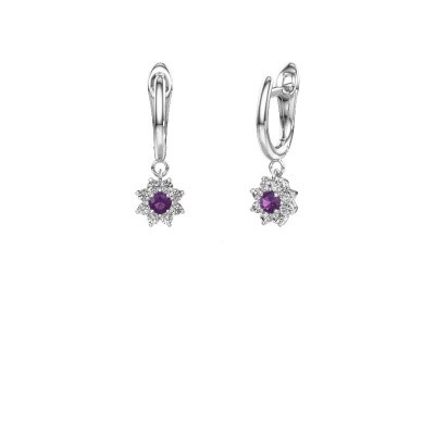 Drop earrings Camille 1 585 white gold amethyst 3 mm