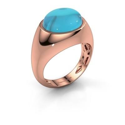 Ring Laurien 375 rosé goud blauw topaas 12x10 mm