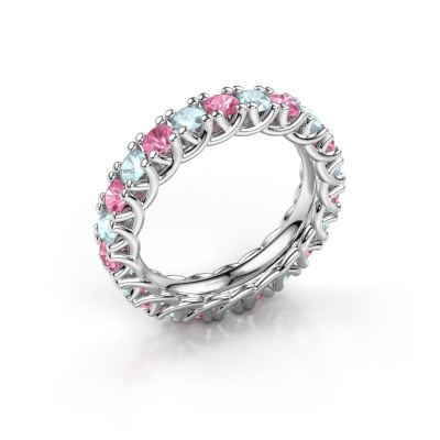 Ring Fenna 585 witgoud roze saffier 3 mm
