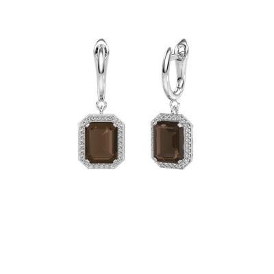 Drop earrings Dodie 1 950 platinum smokey quartz 9x7 mm