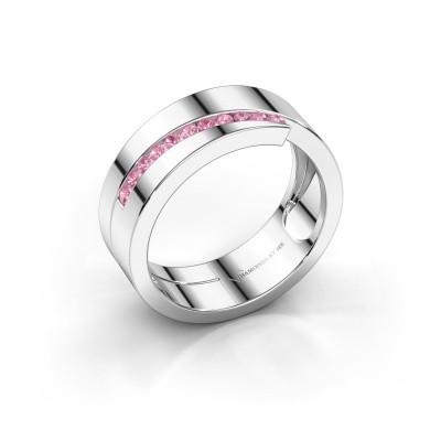 Foto van Ring Loma 585 witgoud roze saffier 1.5 mm