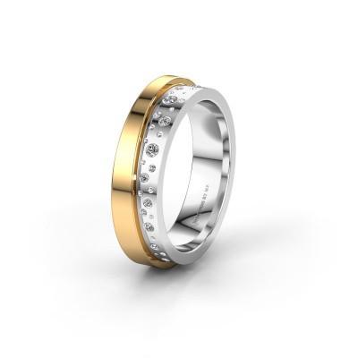 Foto van Trouwring WH6016L15E 585 witgoud diamant ±5x2.6 mm