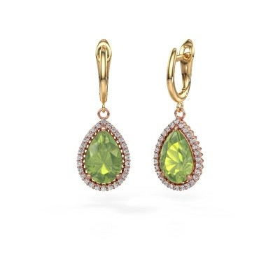 Picture of Drop earrings Hana 1 585 rose gold peridot 12x8 mm