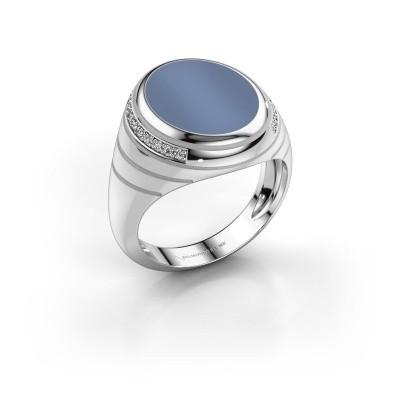 Zegelring Luuk 950 platina licht blauwe lagensteen 15x12 mm