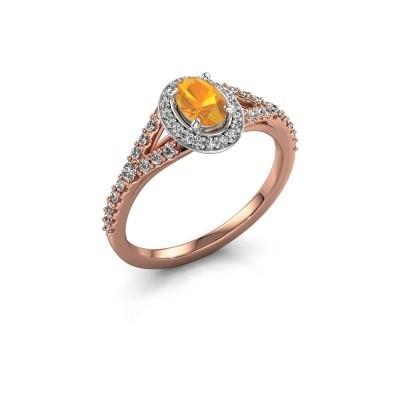 Belofte ring Pamela OVL 585 rosé goud citrien 7x5 mm
