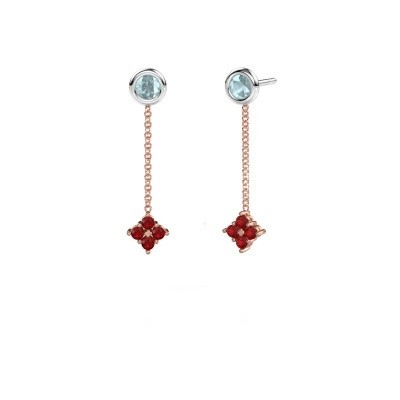 Picture of Drop earrings Ardith 585 rose gold ruby 2 mm