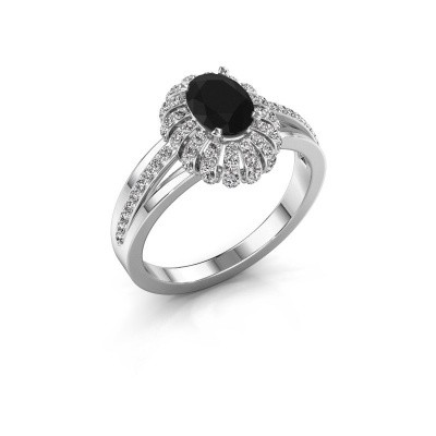 Foto van Verlovingsring Twila 585 witgoud zwarte diamant 0.96 crt