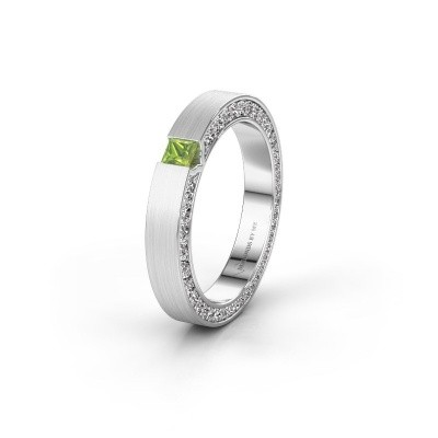 Wedding ring WH2140L14B 585 white gold peridot ±3,5x2 mm