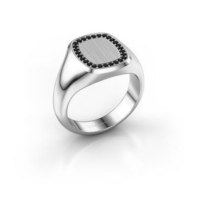 Foto van Heren ring Floris Cushion 2 925 zilver zwarte diamant 0.252 crt