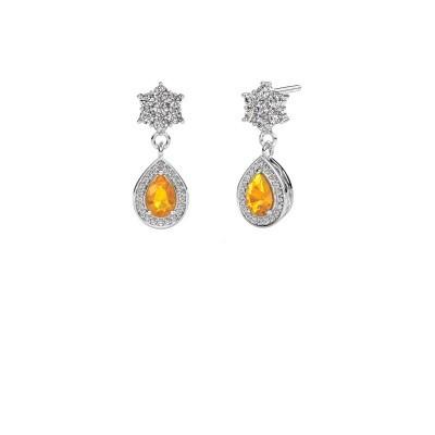 Drop earrings Era 950 platinum citrin 6x4 mm