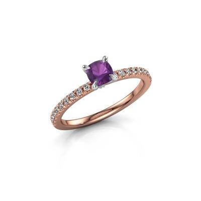 Foto van Verlovingsring Crystal CUS 2 585 rosé goud amethist 5 mm