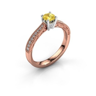 Foto van Belofte ring Shonta RND 585 rosé goud gele saffier 4.7 mm