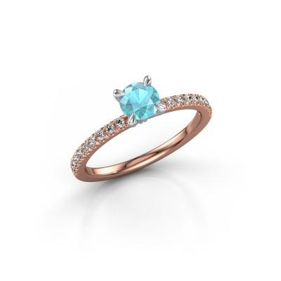 Picture of Engagement ring Crystal rnd 2 585 rose gold blue topaz 5 mm