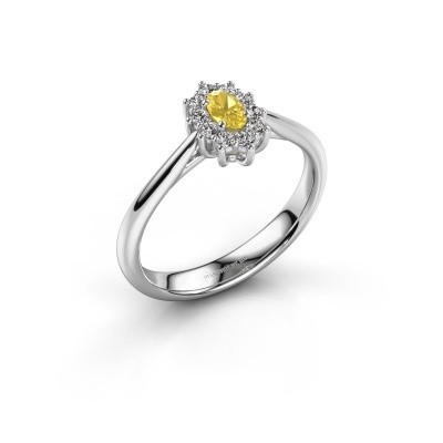 Picture of Engagement ring Leesa 1 925 silver yellow sapphire 6x4 mm