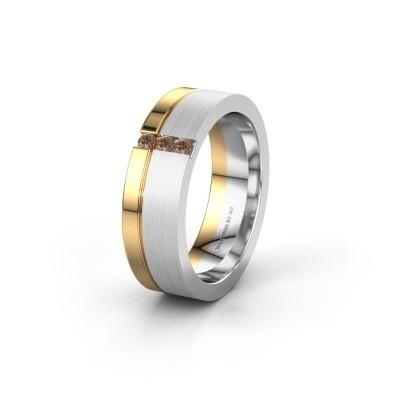 Wedding ring WH0327L16B 585 white gold brown diamond ±0.24x0.08 in