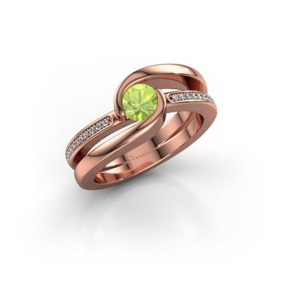 Foto van Ring Xenia 2 375 rosé goud peridoot 5 mm