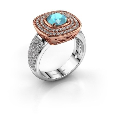 Ring Eliana 585 rosé goud blauw topaas 6 mm