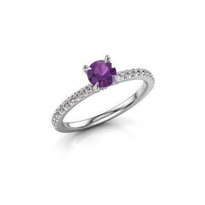 Picture of Engagement ring Crystal rnd 2 925 silver amethyst 5 mm