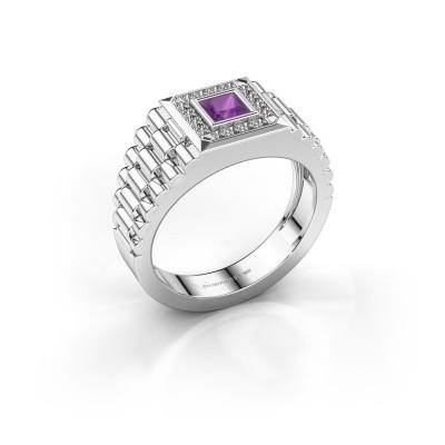 Foto van Rolex stijl ring Zilan 585 witgoud amethist 4 mm