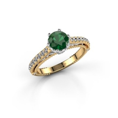 Verlovingsring Venita 585 goud smaragd 6.5 mm