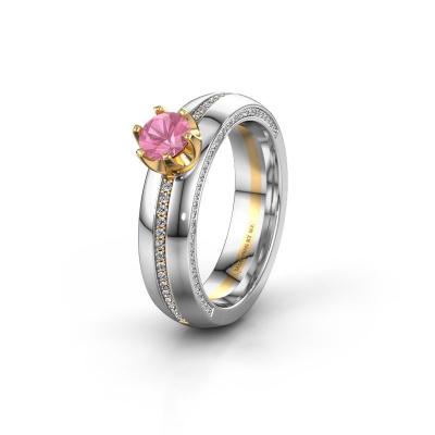 Huwelijksring WH0416L25E 585 goud roze saffier ±5x2.6 mm