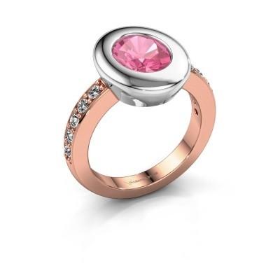 Ring Selene 2 585 rosé goud roze saffier 9x7 mm