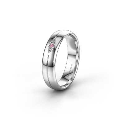 Wedding ring WH0219L35X 585 white gold pink sapphire ±5x1.4 mm