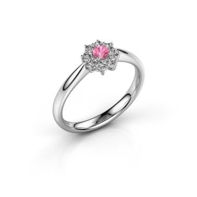 Foto van Verlovingsring Carolyn 1 585 witgoud roze saffier 3 mm