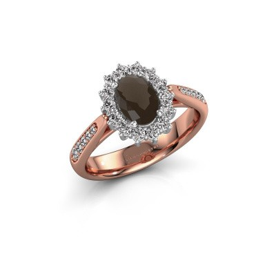 Picture of Engagement ring Margien 2 585 rose gold smokey quartz 7x5 mm